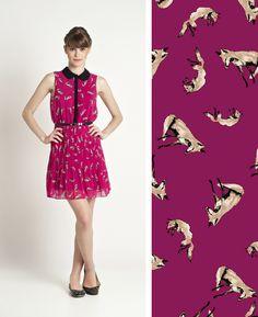 Vestido Antix estampas-sonora-raposa-pink