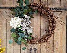 Hydrangea eucalyptus front door wreath, hydrangea, Wreath - Wreath Great for All Year Round - Everyday Wreath, Door Wreath