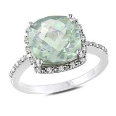 10.0mm Cushion-Cut Green Quartz and 1/10 CT. T.W. Diamond Ring in Sterling Silver - View All Rings - Zales