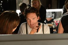 Benedict Cumberbatch at Spencer Hart show backstage