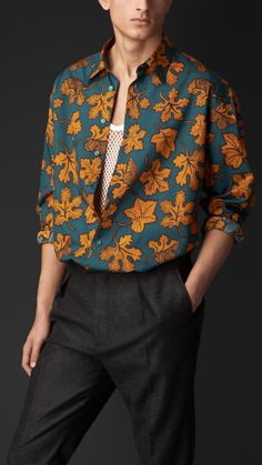 Leaf Print Cotton Silk Artist Shirt | Burberry