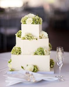 WeddingChannel Galleries: White Wedding Cake with Green Flowers