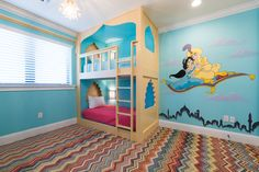 Discover a whole new world in this Aladdin themed bedroom! Villa: Reunion Resort 2500. #orlando #familytravel #disney