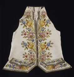 Title: Waistcoat Embroidered with a Flower Motifs Place of creation: France Date: Second half of the 18th century Material: silk (ground) and silk threads Technique: openwork embroidery and embroidery in satin stitch technique Inventory Number: Т-15679