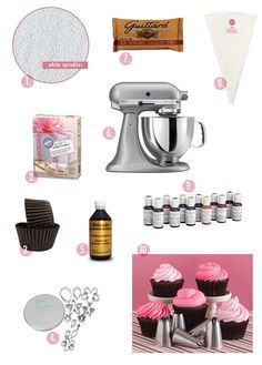 Top 10 supplies for baking the best cupcakes ever! Cupcake Icing, Baking Cupcakes, Fun Cupcakes, Cupcake Cakes, Bakery Supplies, Cooking Supplies, Cake Decorating Supplies, Decorating Tips, Yummy World