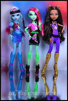 Monster High dolls that I have!!! Well, I only have Abby, (the icy one) and my sister has Clawdeen. (The one in the purple outfit.) But I want Venus. (The one in the middle.)