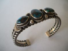 Stunning GARY REEVES Lone Mountain Turquoise and Heavy Sterling Silver Cuff BRACELET, by TurquoiseKachina, $413.10