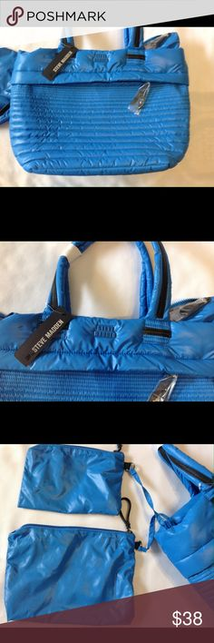Steve Madden tote / blue Steve Madden large tote. Includes 2 cosmetic Bags. Steve Madden Bags Totes