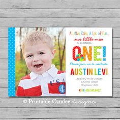 Boy 1st Birthday Invitation  Boy Invitation  by printablecandee