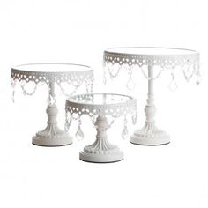Jeweled White Round Cake Stands