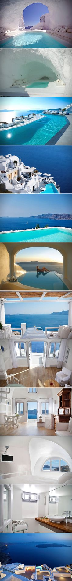 The Katikies Hotel on the beautiful island of Santorini sits on a cliff overlooking the Santorini caldera basin, offering heart stopping views of the Aegean Sea