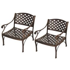 Walker Edison Cast Aluminum Deep Seating Chairs, Set of 2, Brown by Walker Edison. $418.83. Ships ready-to-assemble with all necessary hardware. Classic, woven pattern in a rich, brown textured finish. Solid cast aluminum construction. Step-by-step instructions included with available on-line/telephone support. Rust and weather resistant. A perfect complement to our cast aluminum dining or coffee tables, this pair of comfortable deep seating chairs is a classic additi...