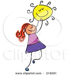 Royalty-Free (RF) Clipart Illustration of a Childs Sketch Of A Girl Holding The Sun by Prawny