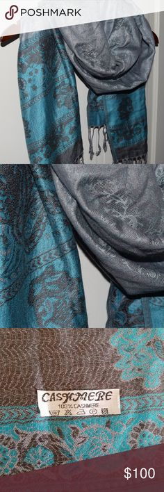 100% Cashmere Wrap/Scarf Beautiful grey and teal cashmere wrap. Gently Worn. Accessories Scarves & Wraps