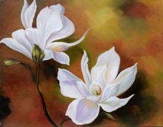 ORIGINAL Oil Painting In Love 23 x 30 Flowers White by decorpro, $345.00