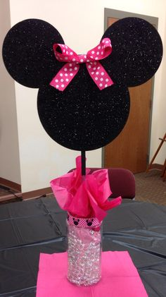 Minnie Mouse Centerpieces - first birthday decorations. Minnie theme party ideas.