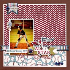 #scrapbook #layouts using little sport paper - Google Search