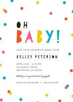 Bright Confetti Pop Baby Shower Invitation. A bright and fun unisex baby shower invitation to celebrate the mama-to-be!