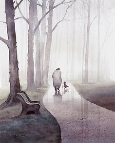 Walk In The Park Art zu drucken Aquarell Alter von PineBrookStudio