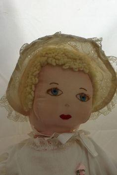 "Vintage Folk Art Doll Handmade Blond  22"" Eyelashes Adorable Stuffed"