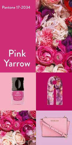 """Der Frühling kitzelt uns in der Nase! Auf den Laufstegen und in unseren Kleiderschränken beginnen wir die schönste Zeit des Jahres, also den Frühling mit der Farbe """"Pink Yarrow"""". Mit dieser Farbe hebst du deine Stimmung und versetzt deinem Körper einen Energieschub. Welche Produkte du in dieser Trendfarbe findest, zeigen wir dir im Magazin! #pink #fashion #outfit #trendfarbe #pantone #bags #nailart #scarf #kombination #fashionideen #shopthelook #flowerpowe"""