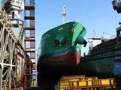 Arklow Moor (general cargo) in floating dock, photo: J. Floating Dock, Train