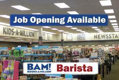 Book Retailers, Cafe Barista, Good Communication Skills, Books A Million, Career Opportunities, Team Player, Job Opening, Job Description, Strong