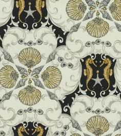 Home Decor Print Fabric- Waverly Jewel Of The Sea Caviar