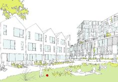 Proposed view of dRMM's flats from village green at Television Centre - indicative sketches via BD