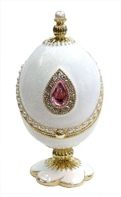 Decorative Faberge Egg Box Easter Egg Jewelry Box with Crystals, White Glitter