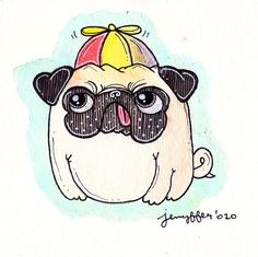 A pug in a beanie. Pug Puppies, Pet Dogs, Doggies, Illustrations, Illustration Art, Pug Cartoon, Pug Mug, Pugs And Kisses, Pug Love