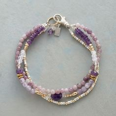 "TWILIGHT GARDEN BRACELET -- Shading from deep purple to delicate lilac, amethyst and lavender quartz contrast with sterling silver and 14kt gold filled beads. Sterling silver lobster clasp. Handcrafted in USA exclusively for Sundance. Approx. 7-1/2""L."