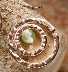 18K rose gold plated and vitrified hoop earrings. In acid bath engraved copper with prehnite. Made in Italy di FuocoTerra