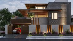 Minimalist House Exterior Design - 77 Minimalist House Exterior Design Easy Ways to Get Frank Lloyd Wright House Plans House Gate Design, Duplex House Design, House Front Design, Facade Design, Modern House Design, Exterior Design, Fence Wall Design, Plans Architecture, Modern Architecture House