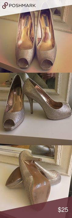 Steve Madden Glitter Heels Super fun heels for a birthday party or New Years! They are platform size 10. I believe I bought them at TJ Max so there is some writing on the bottom of the right heel. I only wore them once. Steve Madden Shoes Heels