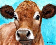 Cows Jersey Cow Jersey Cow Art Print Jersey Dairy Cow Watermark NOT on your print Painting by Rooster Painting, Rooster Art, Cow Painting, Farm Paintings, Animal Paintings, Cow Canvas, Cow Pictures, Cow Photos, Farm Art