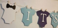It's A Boy Baby Banner, Mini Clothespin, Baby Shower Decorations, Party Decorations on Etsy, $22.00: