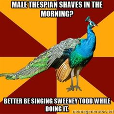 Thespian Peacock - Male Thespian Shaves In The Morning? Better BE Singing Sweeney Todd While Doing It.