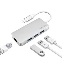Letscom USB-C to USB 3.0 Portable Data Hub with Thunderbolt 3 to Network Adapter Ethernet Port and 3 USB 3.0 Ports, for Macbook Pro, XPS, Google Pixelbook and More Type C Devices, Silver