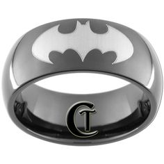 9mm Black Dome Tungsten Carbide Batman Ring by CustomTungsten, $49.00