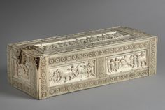 IVORY CARVING: Veroli Casket, 10th century, Turkey. The Veroli casket belongs to a group of Byzantine ivory and bone boxes known as 'Rosette caskets' because of their border decoration. Originally, it must have belonged to a person of high standing, possibly at the court of the Byzantine emperor Constantine VIII (976-1028). LINK for more info.