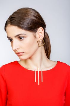 Minimalist Architectural Jewelry - Pendant and Earrings in 18K Gold Plated Silver by MOPHT Studio
