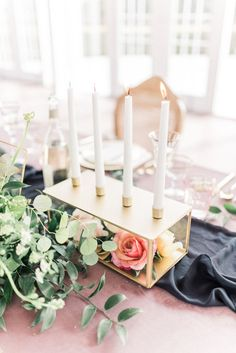 Unique Wedding Centerpiece // Romantic Dusty Rose Wedding Inspiration via TheELD.com