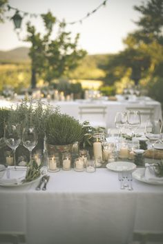 Herbs and Candles Wedding Decor | Stylish Al Fresco Wedding in Tuscany | Divine Day Photography | Bridal Musings Wedding Blog
