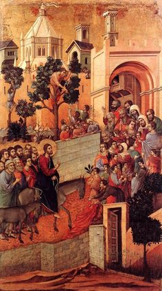 """Palm Sunday of the Lord's Passion: Entrance into Jerusalem"" [Detail from the Maesta Altarpiece] -- Circa -- Duccio di Buoninsegna -- Italian -- Tempera & gold on panel -- Private Collection. Bible Pictures, Jesus Pictures, Italian Painters, Italian Artist, Jesus Enters Jerusalem, Jerusalem Bible, La Passion Du Christ, Duccio Di Buoninsegna, Triumphal Entry"
