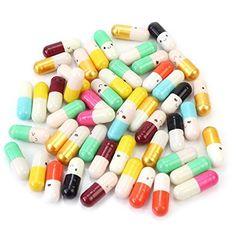 EQLEF® 50 pièces Sourire message Visage Capsule a Bottle Love Letter Amitié Pill cadeau en: Conception mignonne pilule de capsule; Il y a…