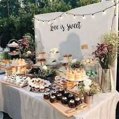 Dessert table, dessert ideas, wedding dessert, sweet wedding food table 50 Delightful Wedding Dessert Display and Table Ideas - SooPush Dessert Bar Wedding, Wedding Cake Rustic, Wedding Desserts, Wedding Cakes, Candy Bar Wedding, Wedding Cake Tables, Dessert Wedding Receptions, Wedding Sweet Tables, Vintage Decoration Wedding