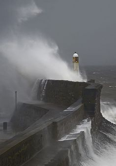 *Porthcawl Harbour Lighthouse in a Storm - South Wales (by wentloog)