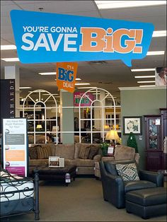 """Ceiling signs and more are all themed as Speech Balloons for this furniture showroom """"Big Sale."""" In the main shot… Balloon Ceiling, Speech Balloon, Point Of Sale, New Thought, Furniture Showroom, Merchandising Displays, Hanging Signs, Balloons, Retail Stores"""