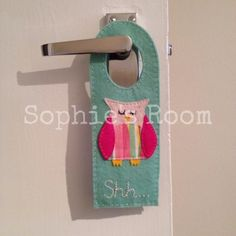 Sleepy Owl double sided felt door hanger £12.50